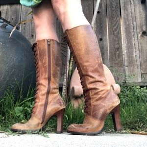 Steve Madden Distressed Leather Heeled Boots